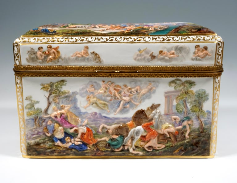 Porcelain 19th Century Meissen Jewelry Box With Colored Greek Mythology Reliefs For Sale