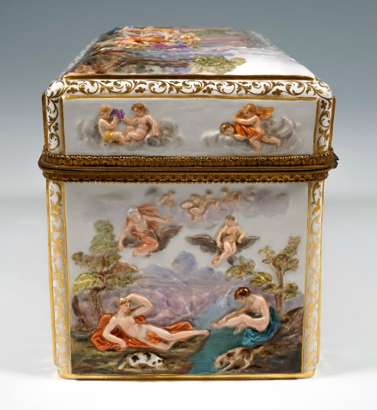 19th Century Meissen Jewelry Box With Colored Greek Mythology Reliefs For Sale 1