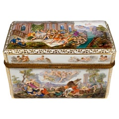 19th Century Meissen Jewelry Box With Colored Greek Mythology Reliefs