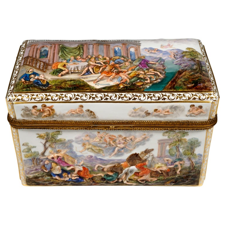 19th Century Meissen Jewelry Box With Colored Greek Mythology Reliefs For Sale