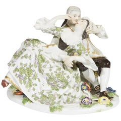 19th Century Meissen Porcelain Figural Group of a Courting Couple