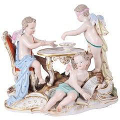 19th Century Meissen Porcelain Group of Blind Man's Buff
