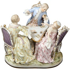 19th Century Meissen Porcelain Group of Three Card Players Gallant Figures