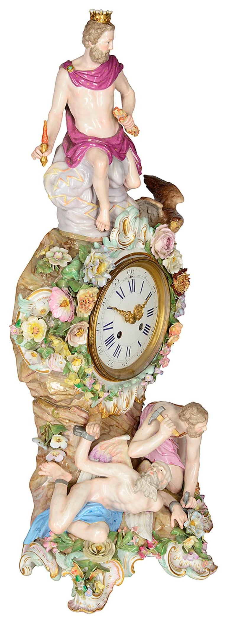 A fine quality late 19th century Meissen Porcelain mantel clock, having Zeus seated above the white enamel clock face, with garlands of flowers surrounding; on the base, Cronus and Hephaestus. Blue crossed sword mark to the base.