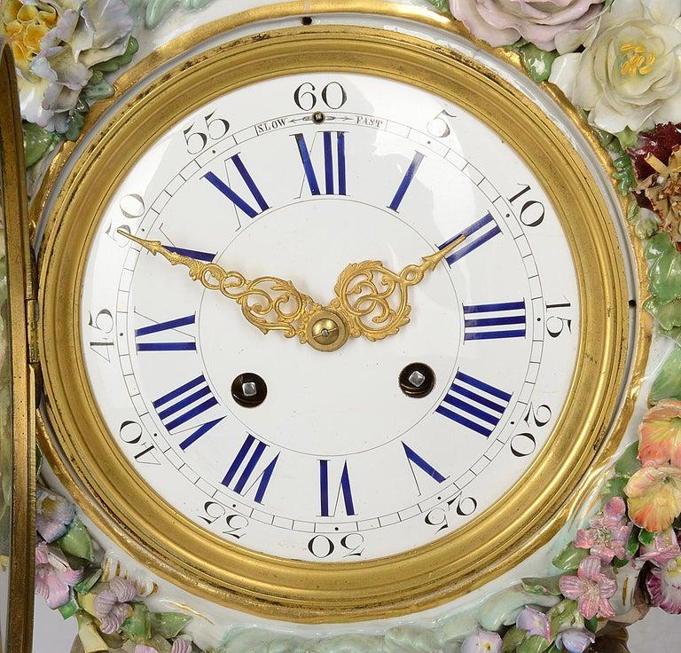 Classical Greek 19th Century Meissen Porcelain Mantel Clock For Sale