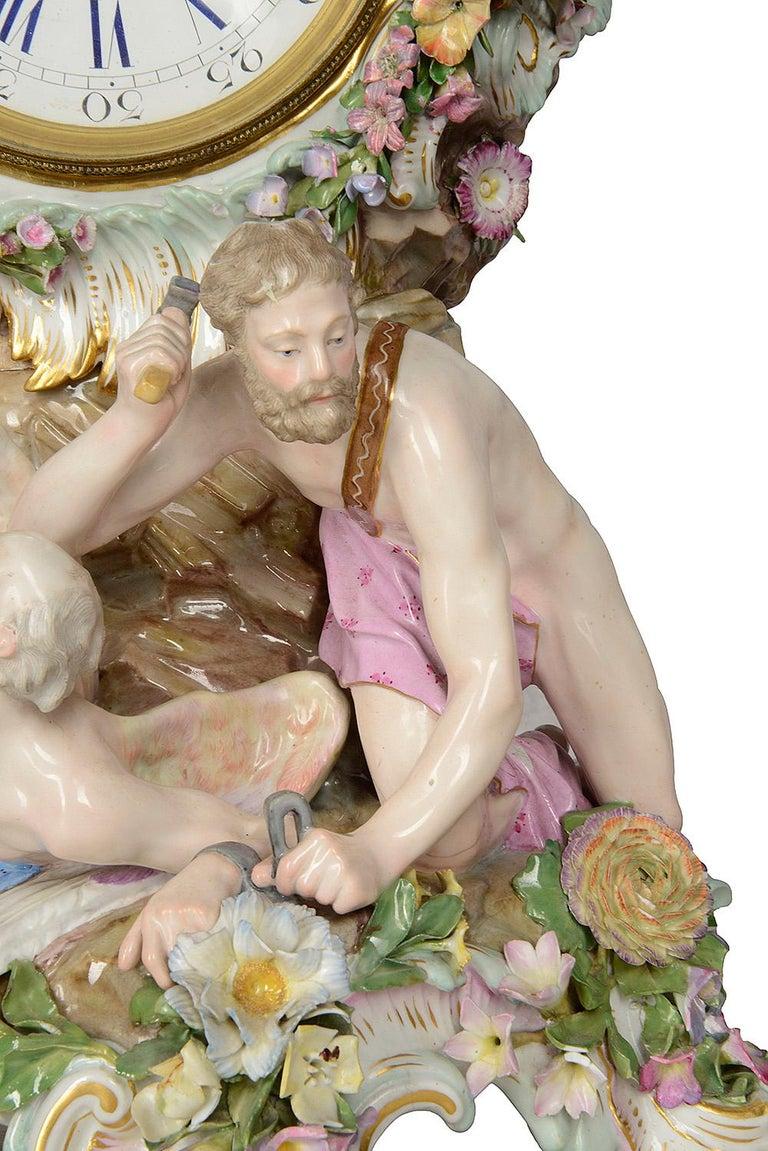 19th Century Meissen Porcelain Mantel Clock For Sale 1