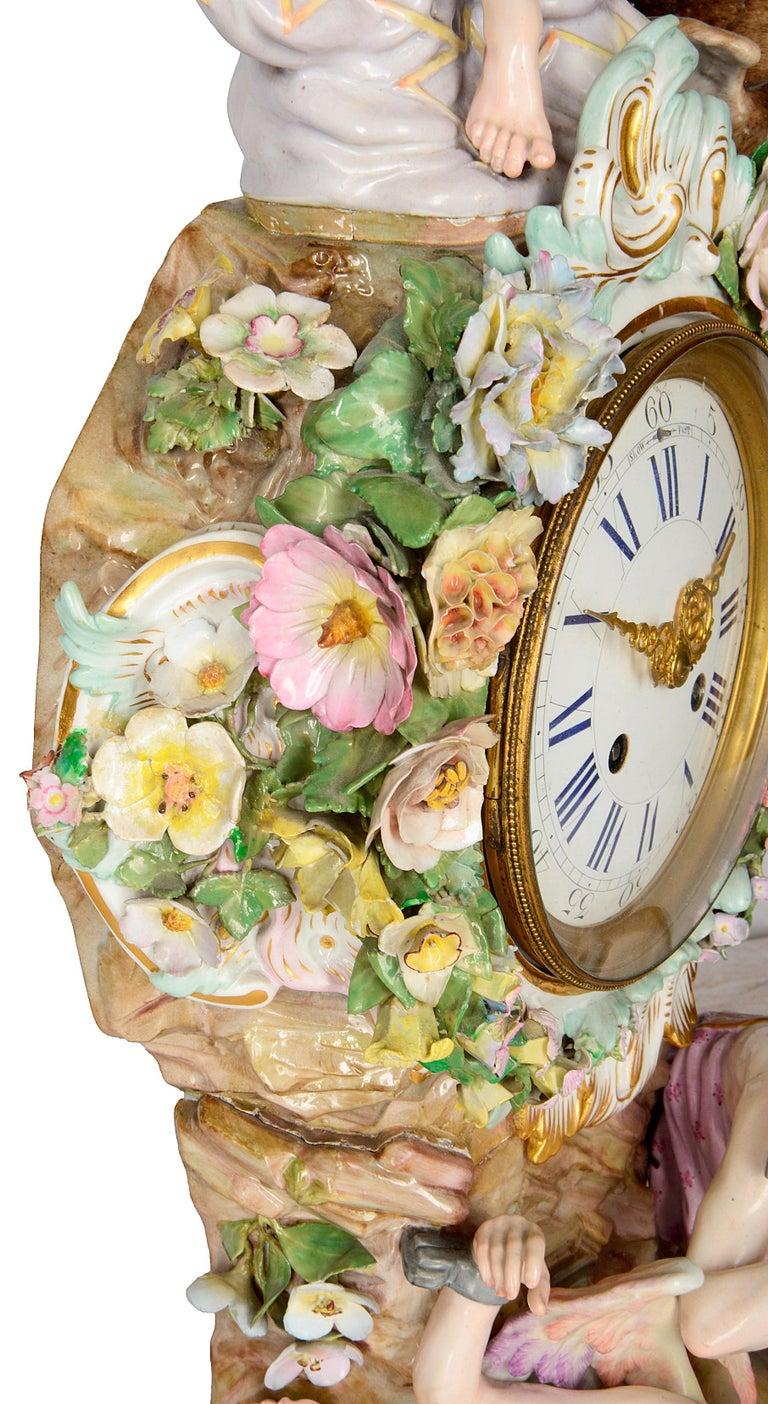 19th Century Meissen Porcelain Mantel Clock For Sale 2
