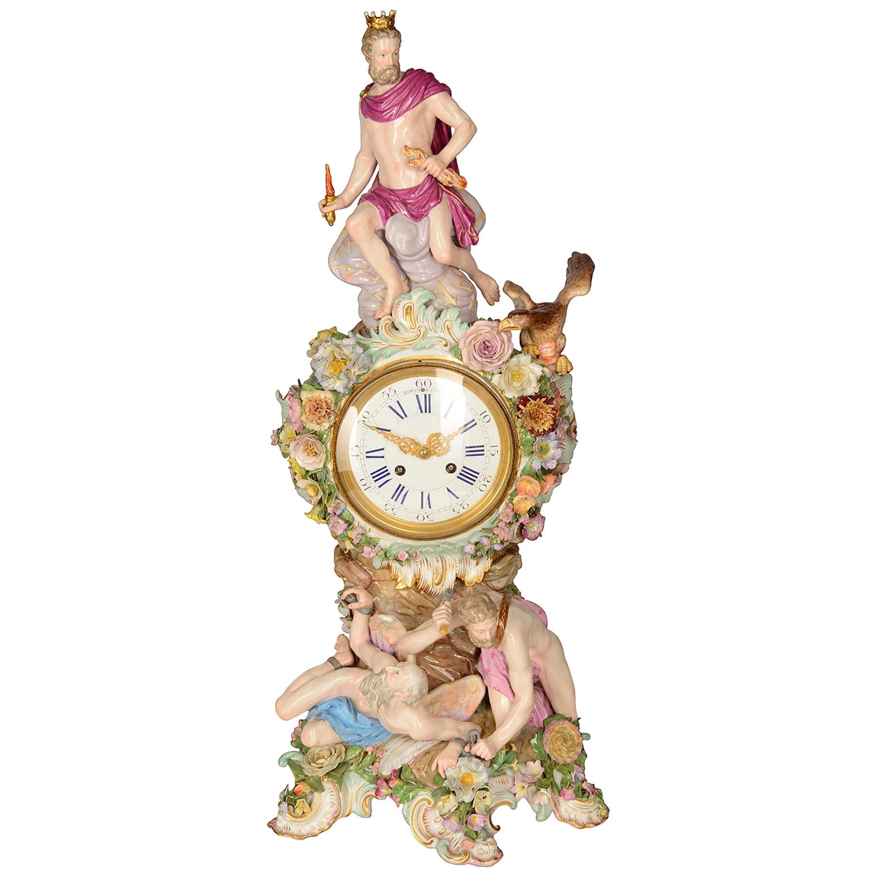 19th Century Meissen Porcelain Mantel Clock