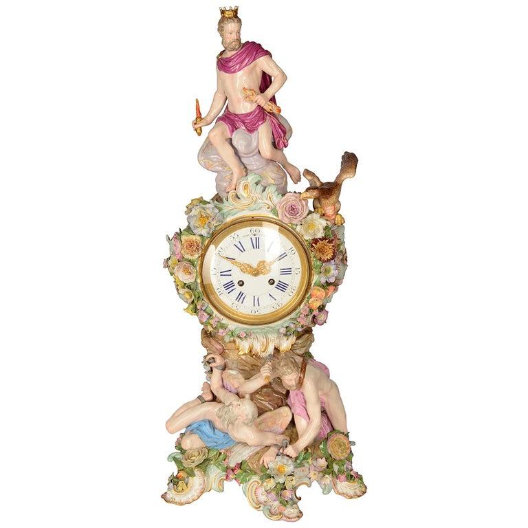 19th Century Meissen Porcelain Mantel Clock For Sale