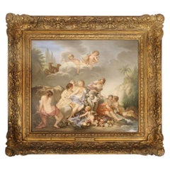 "19th Century Meissen Porcelain Plaque ""Rape of Europa"" after François Boucher"