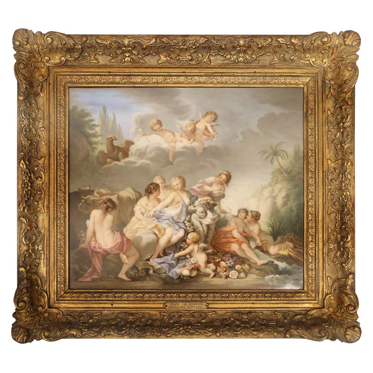 "19th Century Meissen Porcelain Plaque ""Rape of Europa"" after François Boucher For Sale"