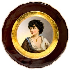 19th Century Meissen Portrait Plate of Young Girl with Necklace