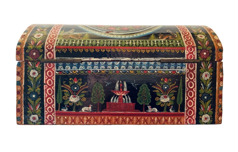 Folk Art 19th Century Mexican Lacquered Box For Sale