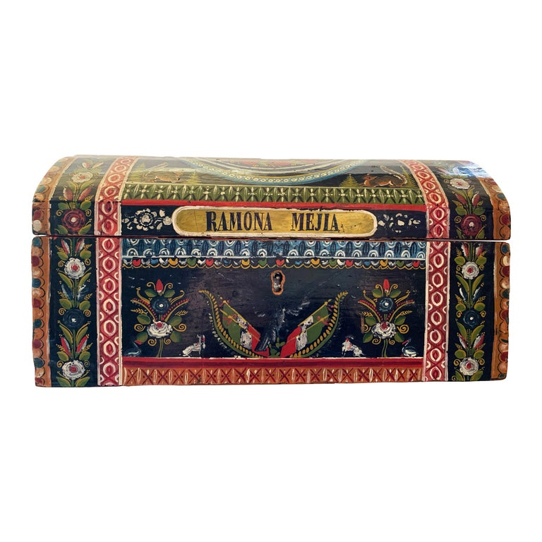 19th Century Mexican Lacquered Box For Sale