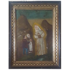"19th Century, Mexican Retablo, on Tin, ""Our Lady of Fatima"", or ""of The Cave"""