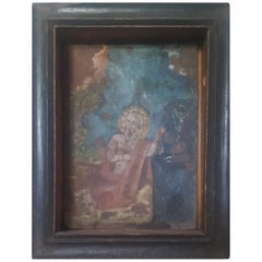 19th Century Mexican Retablo Painting on Tin of St. Jerome and the Lion