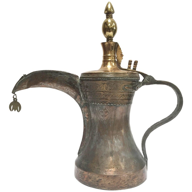 19th Century Middle Eastern Oversized Arabic Bedouin Copper Dallah Coffee Pot