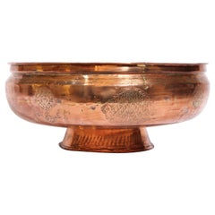 19th Century Middle Eastern Footed Tinned Copper Qajar Bowl