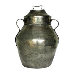 19th Century Middle Eastern Tinned Copper Storage Vessel