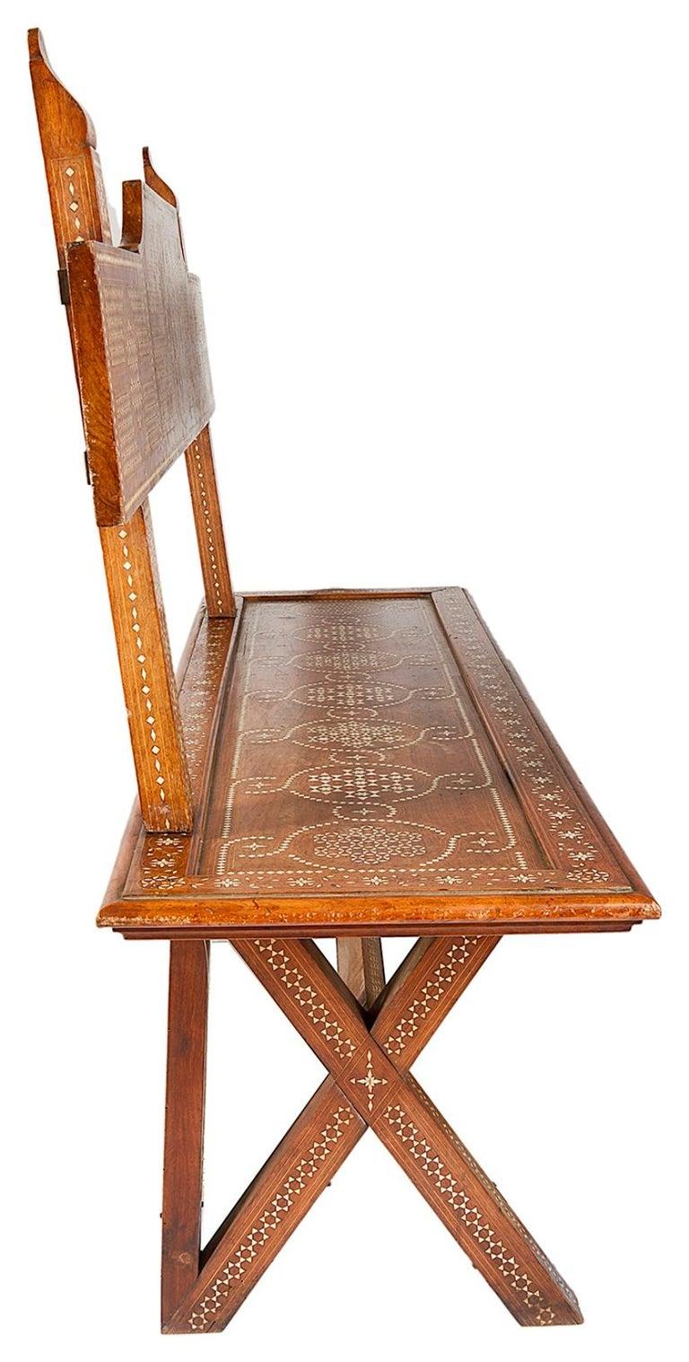 Walnut 19th Century Milanese Moorish Bench For Sale