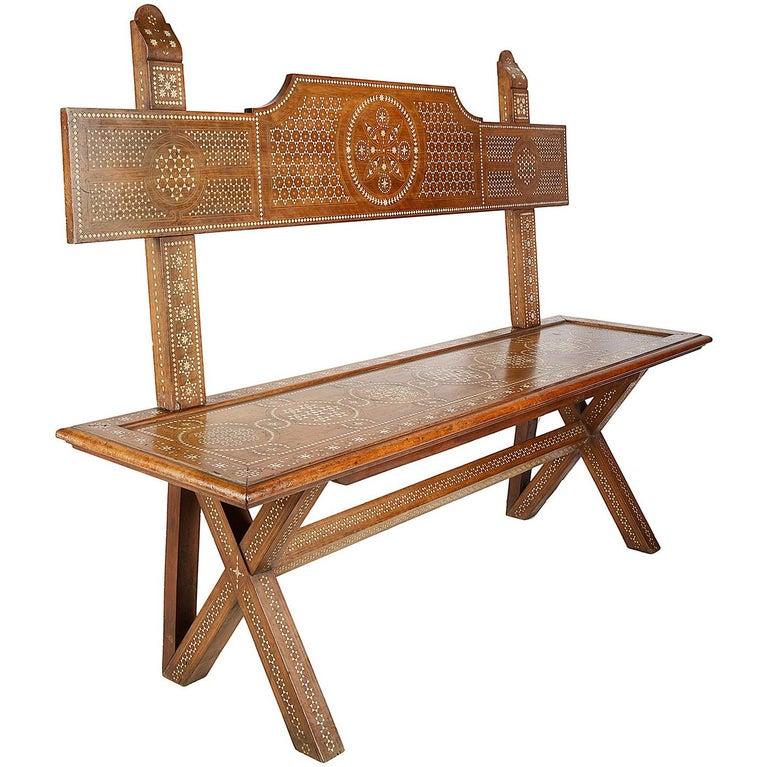 19th Century Milanese Moorish Bench For Sale