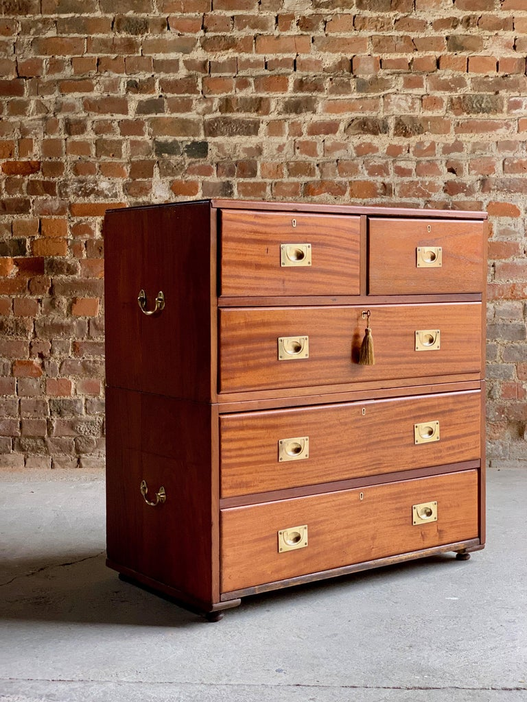 19th Century Military Campaign Chest of Drawers in Teak, circa 1870, No 23 For Sale 3