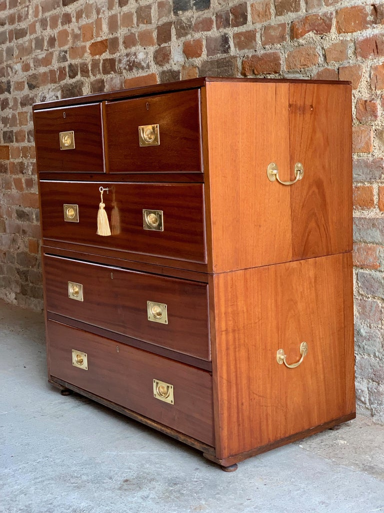 19th Century Military Campaign Chest of Drawers in Teak, circa 1870, No 23 In Good Condition For Sale In Longdon, Tewkesbury