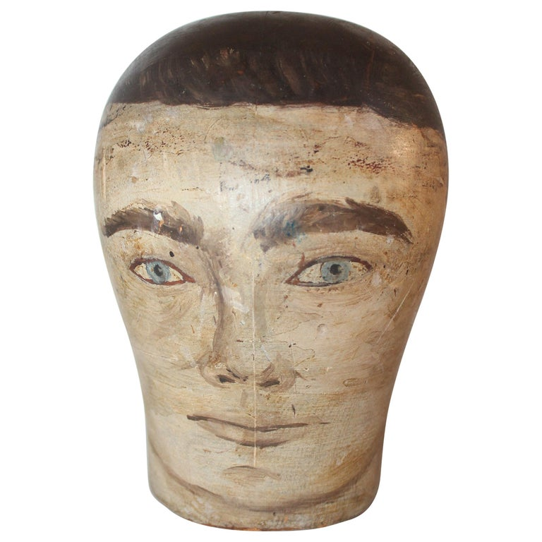 19th Century Milliners Painted Head For Sale