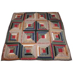 19th Century Mini Pieced Log Cabin Crib Quilt