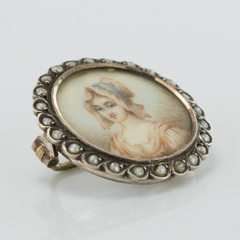 19th Century Miniature and Pearls on Silver Brooch For Sale 5