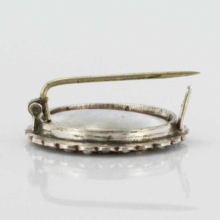 19th Century Miniature and Pearls on Silver Brooch For Sale 6