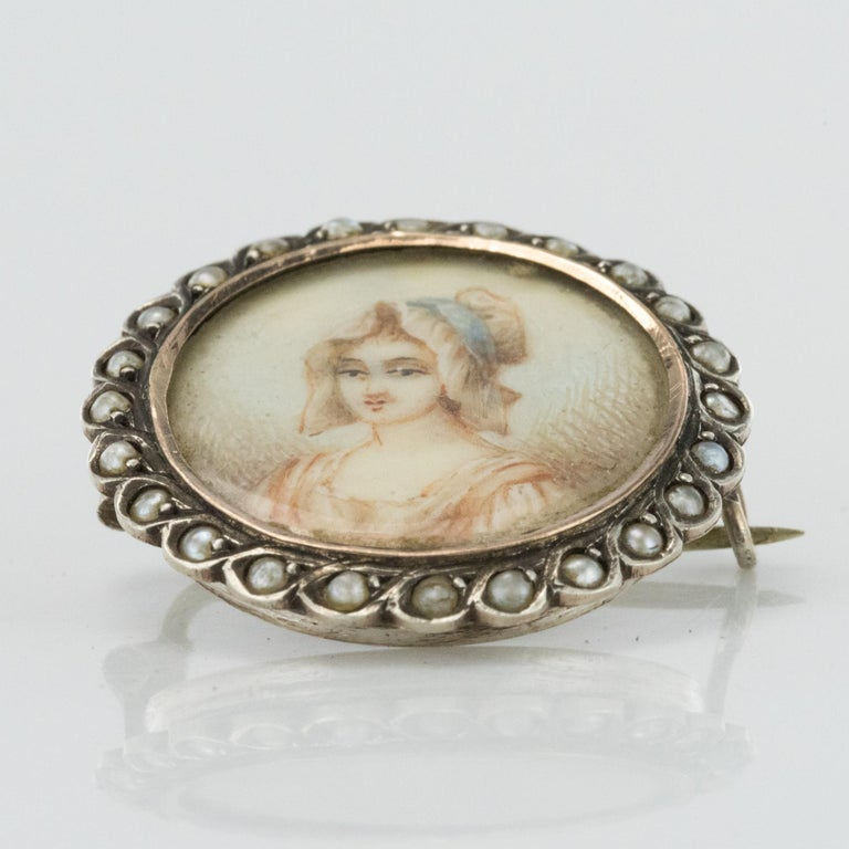 19th Century Miniature and Pearls on Silver Brooch For Sale 7