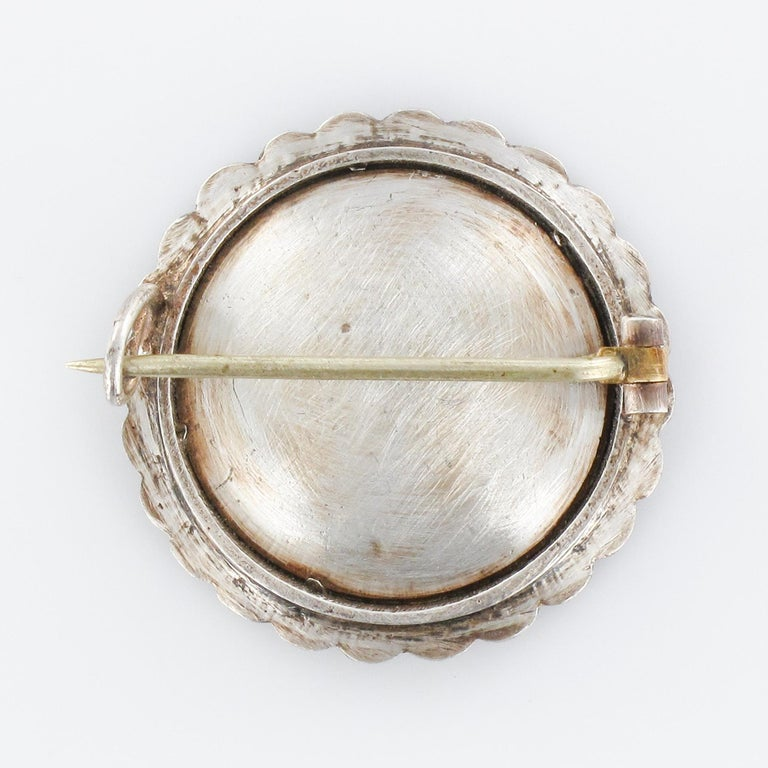 19th Century Miniature and Pearls on Silver Brooch For Sale 8