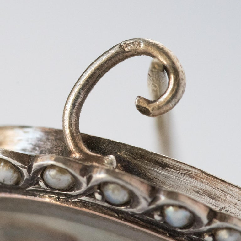 19th Century Miniature and Pearls on Silver Brooch For Sale 9