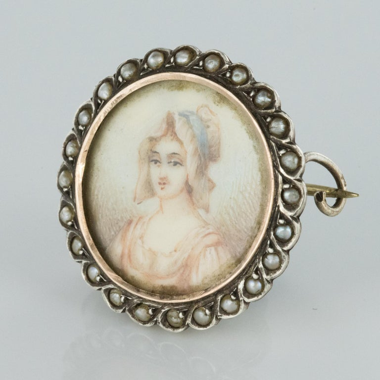 Napoleon III 19th Century Miniature and Pearls on Silver Brooch For Sale