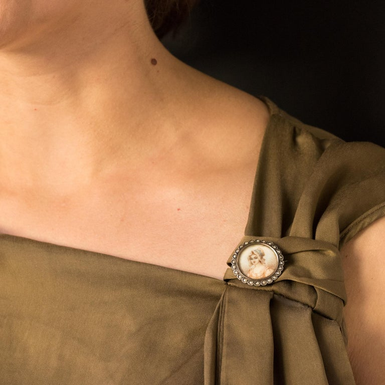 Women's 19th Century Miniature and Pearls on Silver Brooch For Sale