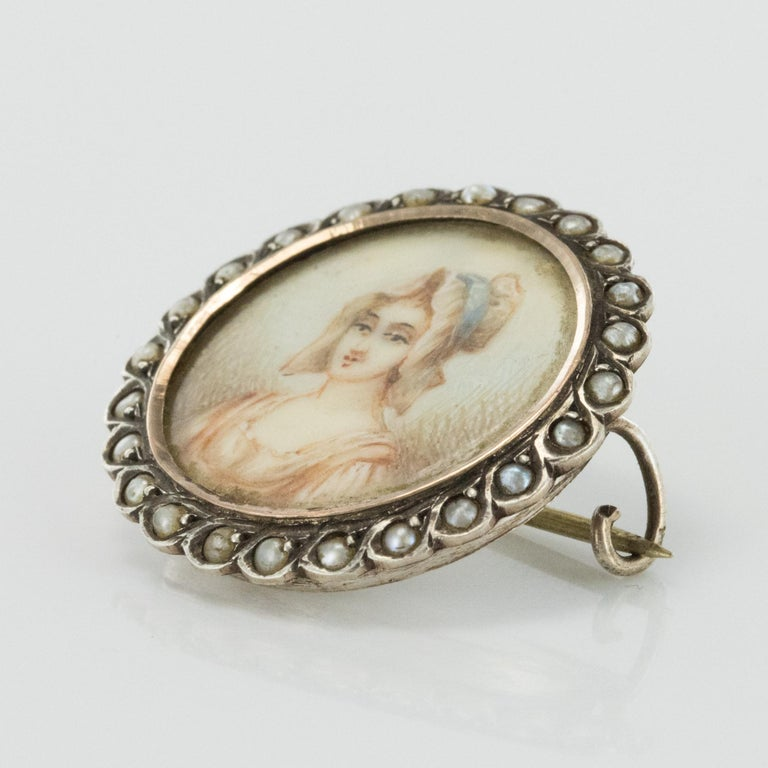 19th Century Miniature and Pearls on Silver Brooch For Sale 1