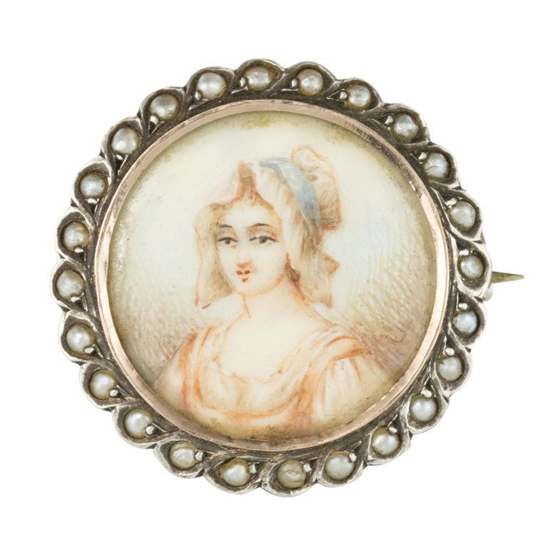 19th Century Miniature and Pearls on Silver Brooch For Sale