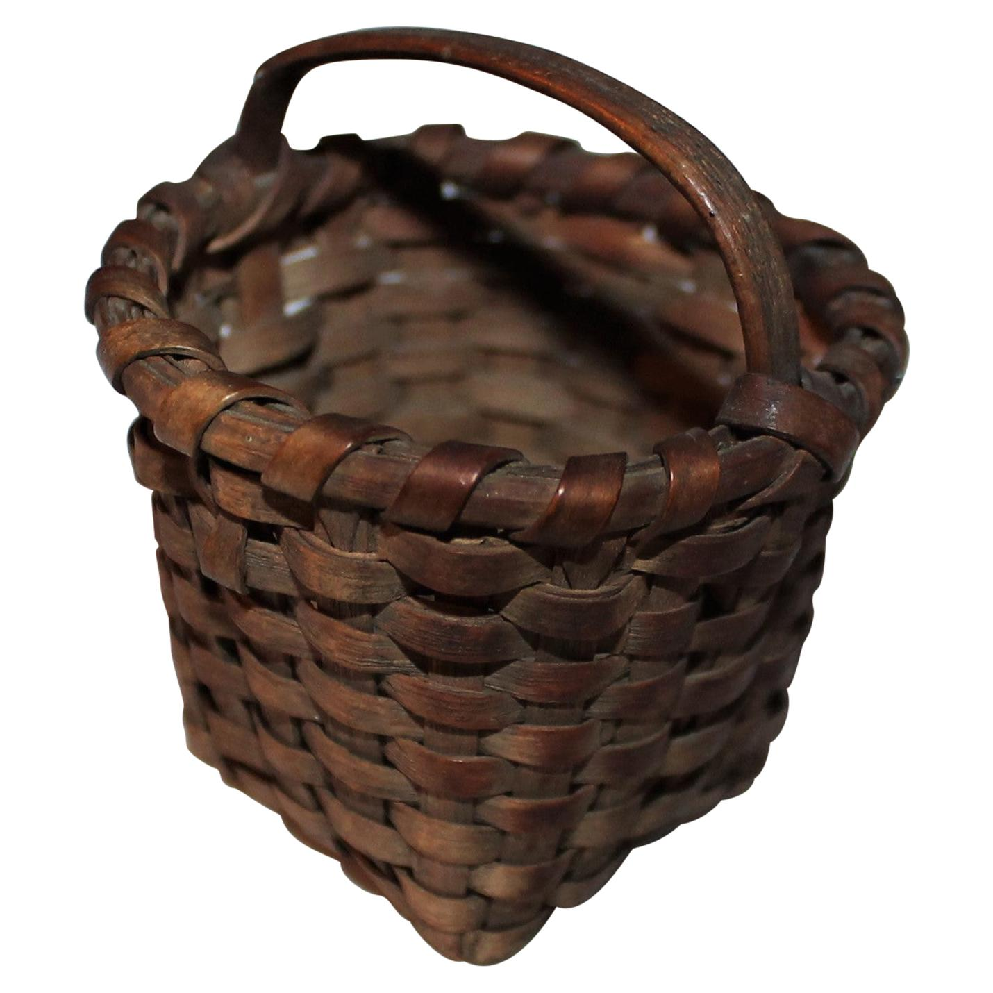 19th Century Miniature Basket with Original Surface