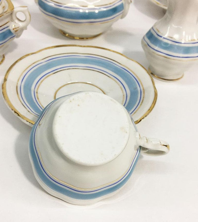 Hand-Painted 19th Century Miniature Childs Porcelain Tea Service For Sale
