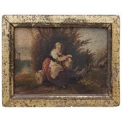 19th Century Miniature Italian Masterpiece Oil Painting