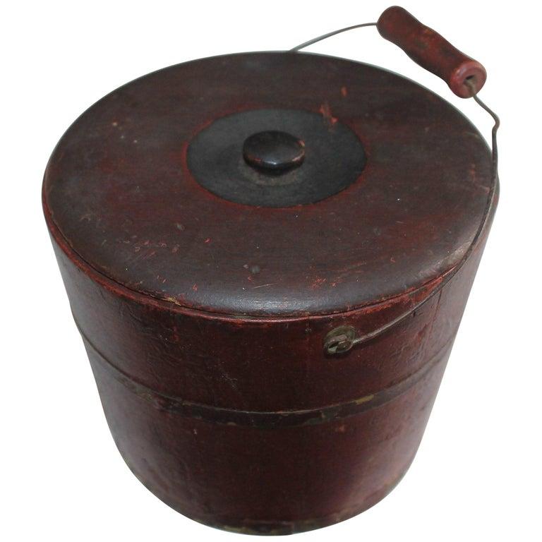 19th Century Miniature Original Red Shaker Bucket For Sale