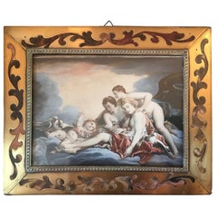 19th Century Miniature Painting after Francois Boucher in Boulle Frame