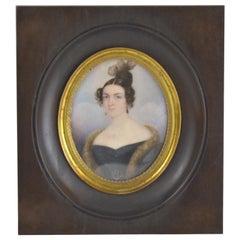 19th Century Miniature Portrait of an Elegant Lady