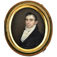 19th Century Miniature Portrait Painting Attributed to Artist Joseph Wood