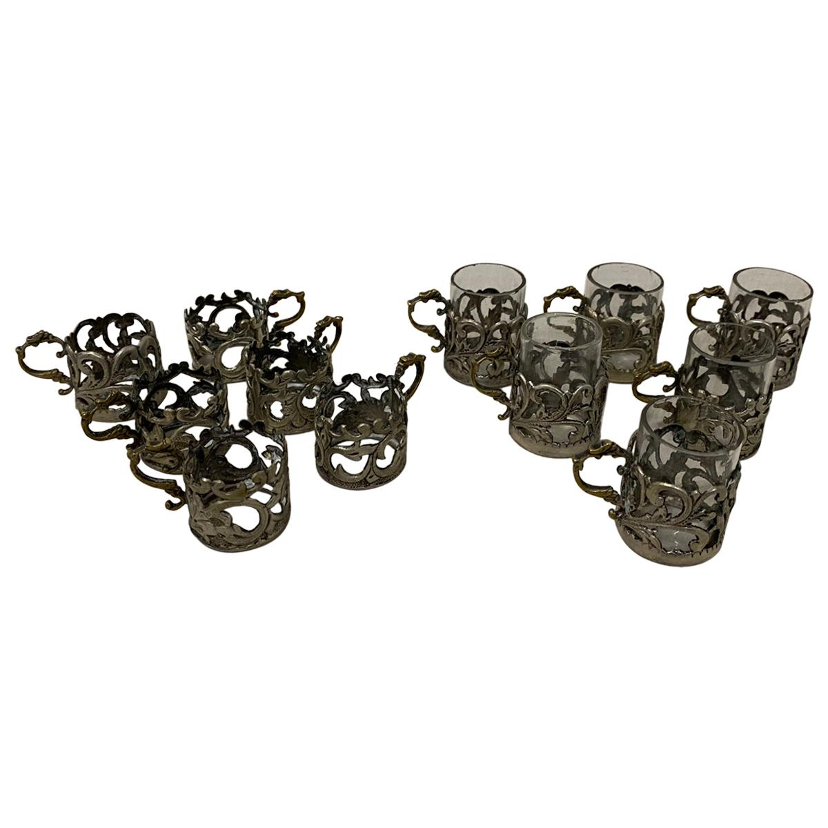 19th Century Miniature Sterling Silver Liquor Cup Holders with Glass Inserts