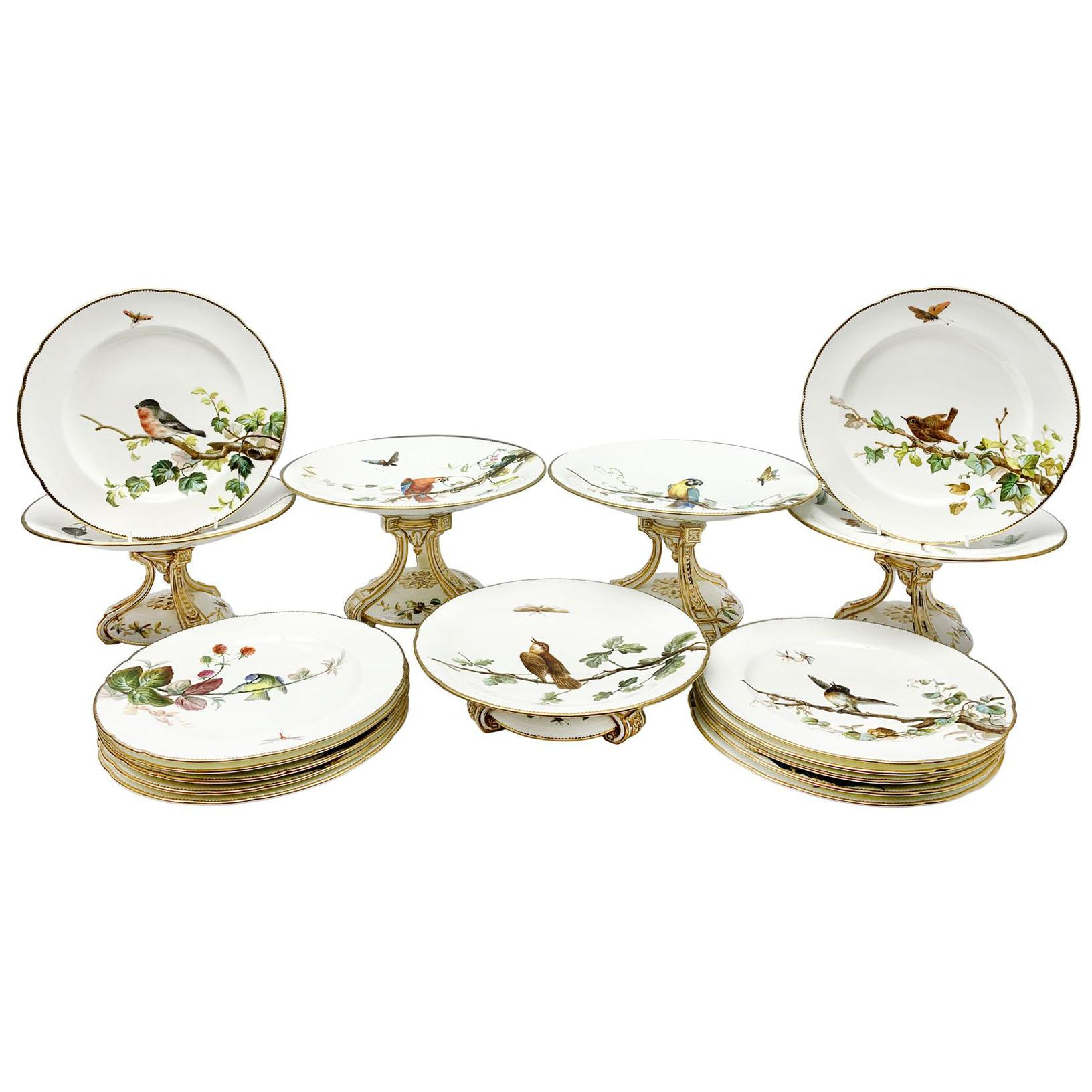 19th Century Minton Bird and Insect Dessert Service 17 Pieces
