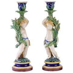 19. Jahrhundert Minton Majolika Leuchter