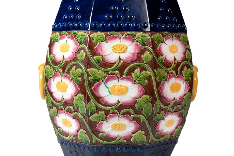 Late 19th Century 19th Century Minton Majolica Garden Stool For Sale