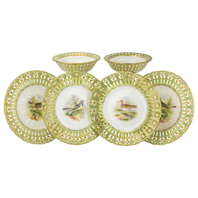 19th Century Minton Ornithological Porcelain Dessert